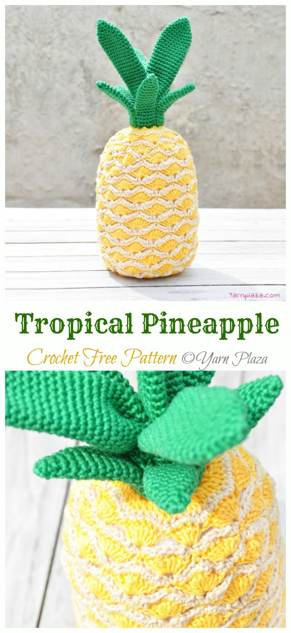 Tropical Pineapple Crochet Free Pattern - Amigurumi #Fruits; Free #Crochet; Patterns