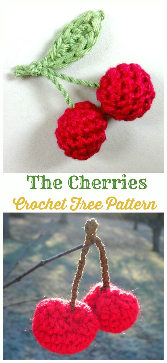 Amigurumi Cherries Crochet Free Pattern - Amigurumi #Fruits; Free #Crochet; Patterns
