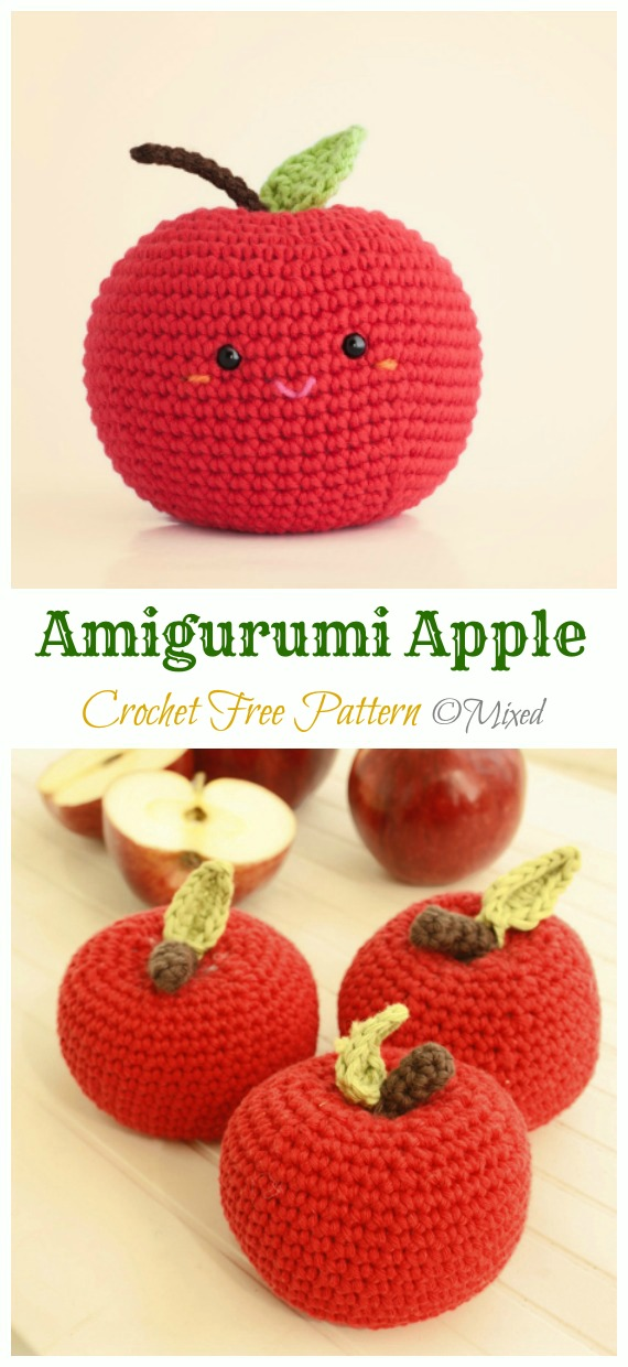 Amigurumi Apple Crochet Free Pattern - Amigurumi #Fruits; Free #Crochet; Patterns