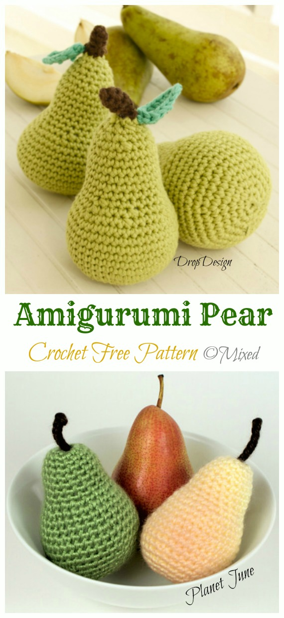 Amigurumi Pear Crochet Free Pattern - Amigurumi #Fruits; Free #Crochet; Patterns