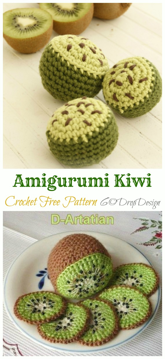 Amigurumi Kiwi Crochet Free Pattern - Amigurumi #Fruits; Free #Crochet; Patterns