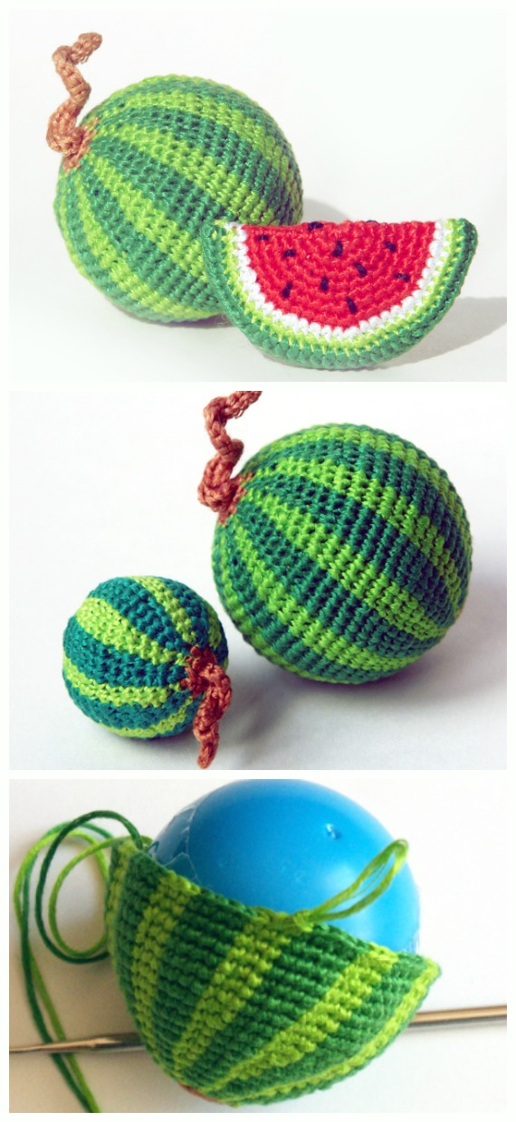 Amigurumi Watermelon Crochet Free Pattern - Amigurumi #Fruits; Free #Crochet; Pattern