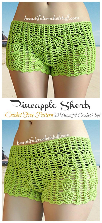 Pineapple Shorts Crochet Free Pattern - Summer #Shorts; & Pants Free Crochet Patterns