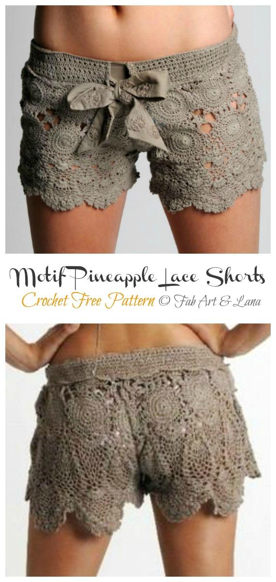 Motif Pineapple Lace Shorts Crochet Free Pattern - Summer #Shorts; & Pants Free Crochet Patterns