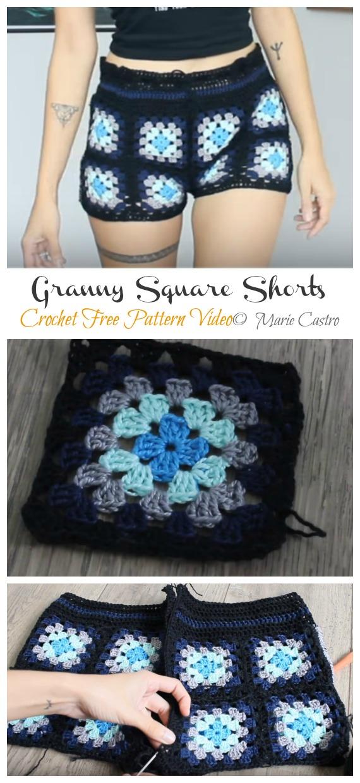 Square Shorts Crochet Free Pattern Video - Summer #Shorts; & Pants Free Crochet Patterns