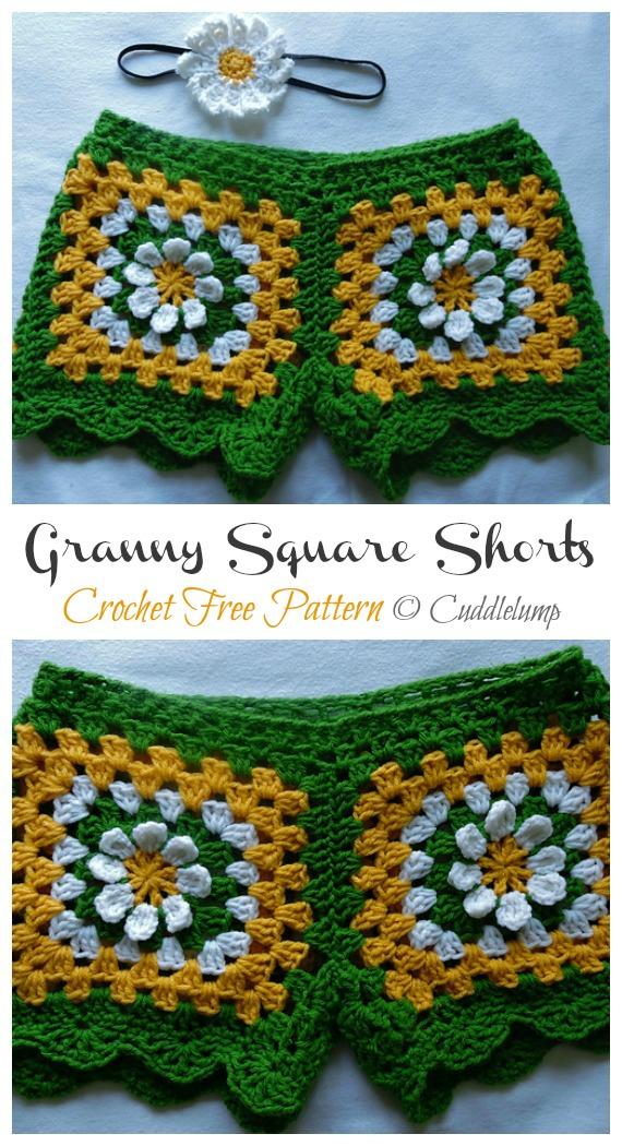 Square Shorts Crochet Free Pattern - Summer #Shorts; & Pants Free Crochet Patterns