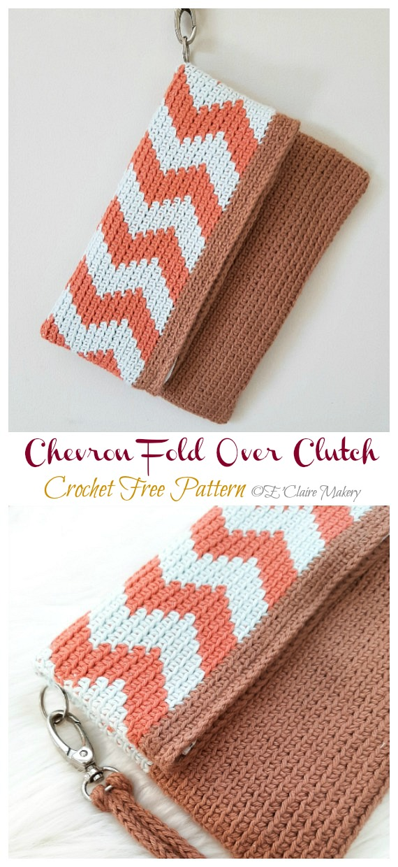 Chevron Fold Over Clutch Crochet Free Pattern - #Clutch; Bag & Purse Free #Crochet; Patterns
