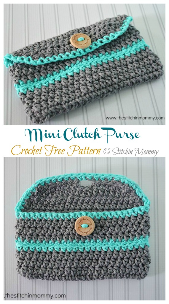 Mini Clutch Purse Crochet Free Pattern - #Clutch; Bag & Purse Free #Crochet; Patterns