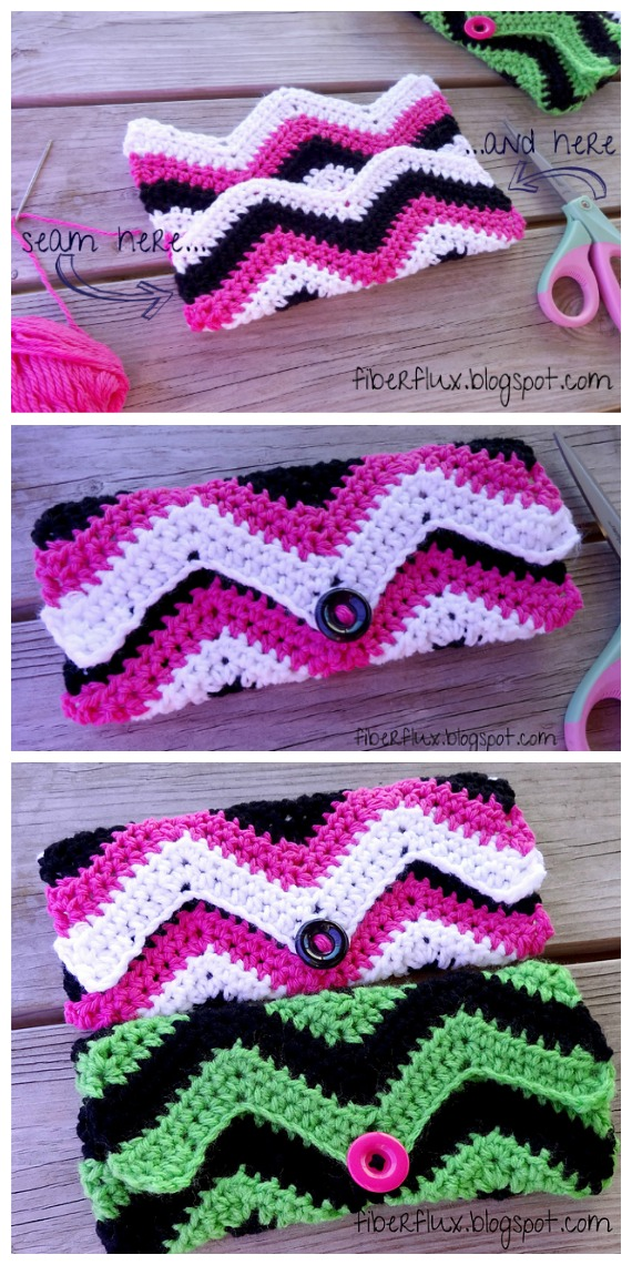 Graphic Chevron Clutch Crochet Free Pattern - #Clutch; Bag & Purse Free #Crochet; Patterns