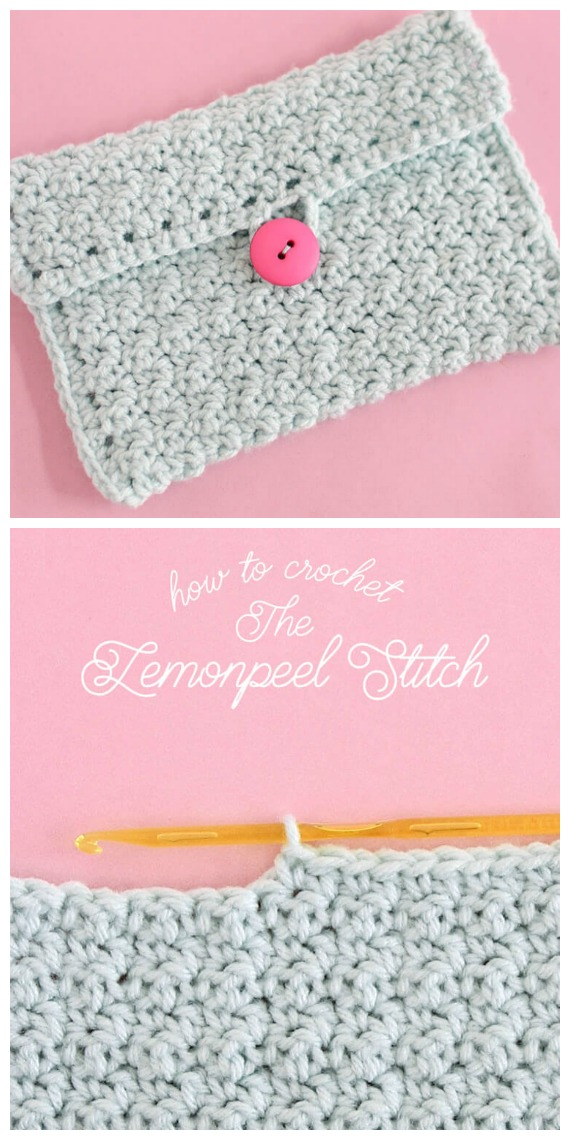 Lemon Peel Stitch Crochet Free Pattern - #Clutch; Bag & Purse Free #Crochet; Patterns