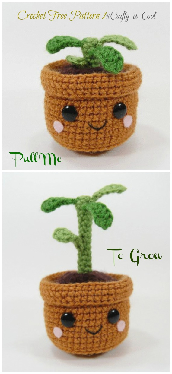 Crochet Pull and Grow Amigurumi Plant Free Pattern - Fun House Plant #Crochet; Free Patterns