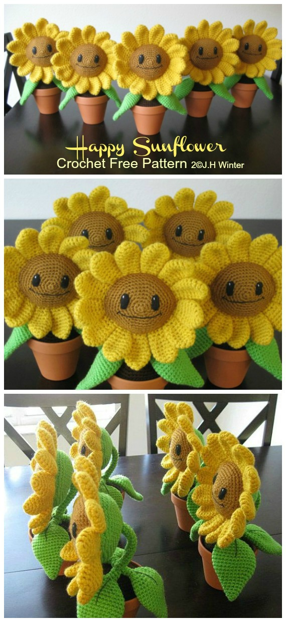 Crochet Happy Sunflower Amigurumi  Free Pattern- Fun House Plant #Crochet; Free Patterns