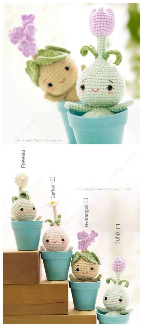 Crochet  Baby Flower Plant Bulb Dolls Amigurumi  Free Pattern- Fun House Plant #Crochet; Free Patterns