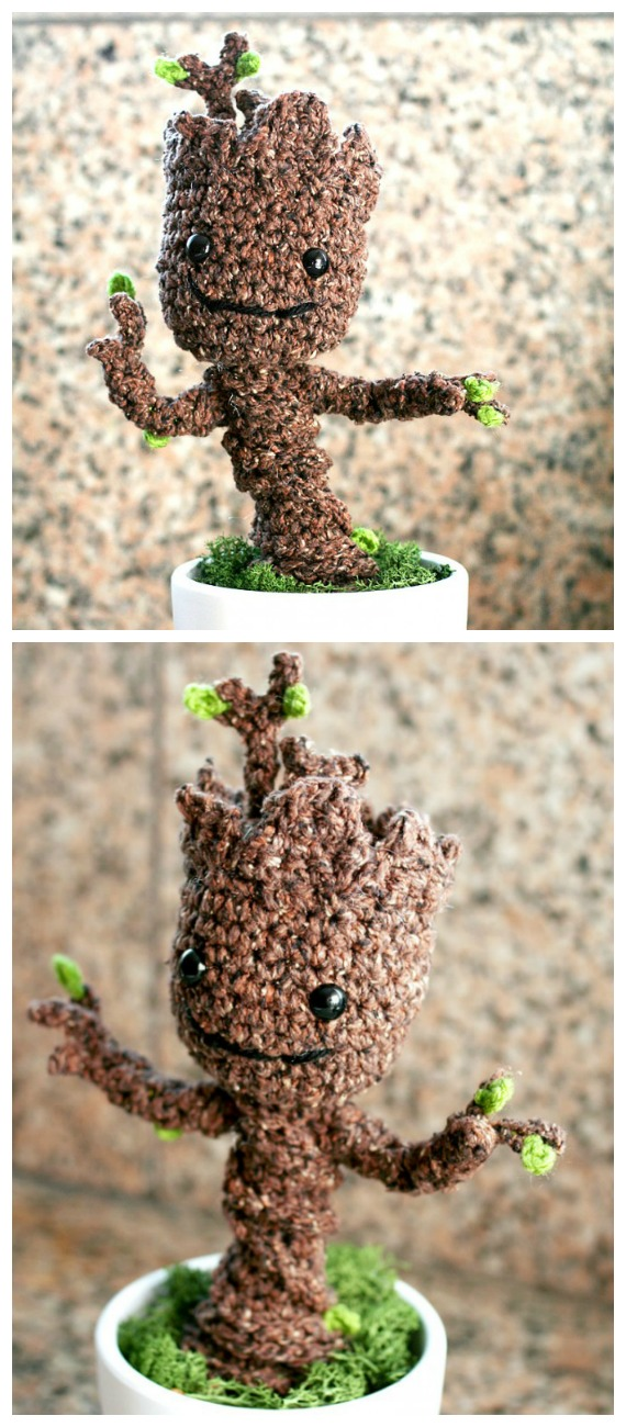 Crochet Potted Baby Groot Amigurumi  Free Pattern- Fun House Plant #Crochet; Free Patterns
