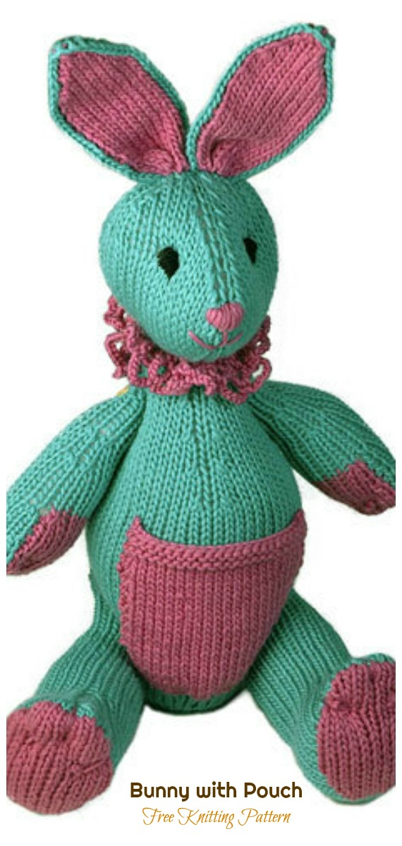 Amigurumi Bunny with Pouch Knitting Free Pattern - Amigurumi Easter Bunny Toy Softies Free Patterns