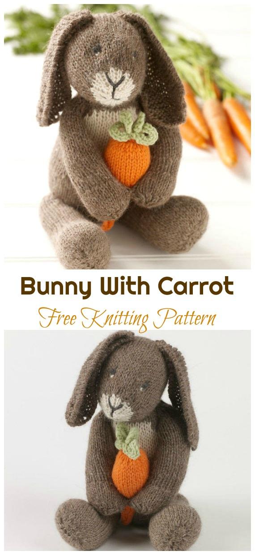 Amigurumi Bunny With Carrot Knitting Free Pattern - Amigurumi Easter Bunny Toy Softies Free Patterns