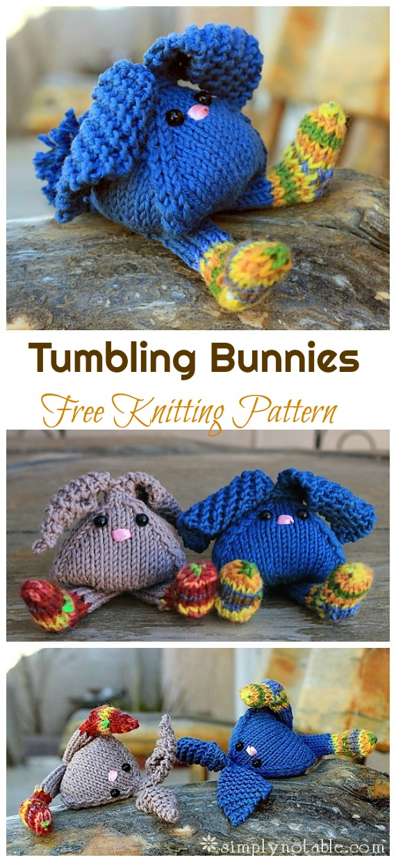 Amigurumi Tumbling Bunnies Knitting Free Pattern - Amigurumi Easter Bunny Toy Softies Free Patterns