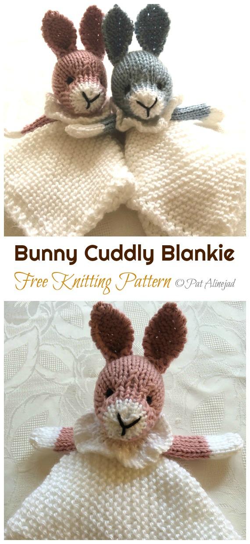 Amigurumi Bunny Mini Cuddly Blankie Knitting Free Pattern - Amigurumi Easter Bunny Toy Softies Free Patterns