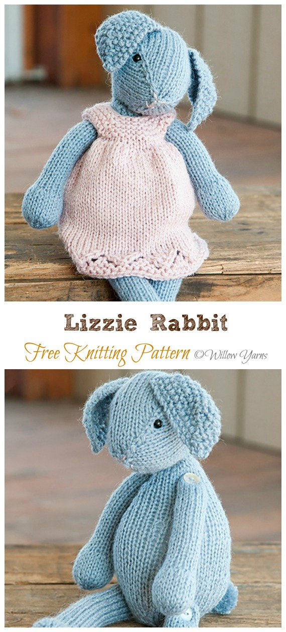 Amigurumi Lizzie Rabbit Knitting Free Pattern - Amigurumi Easter #Bunny; Toy Softies Free #Knitting; Patterns