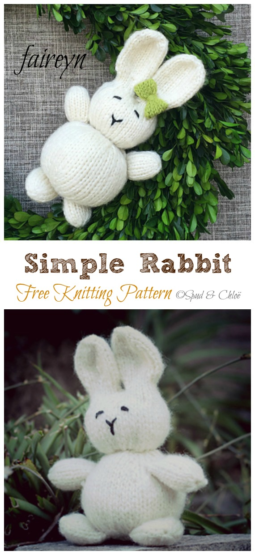 Amigurumi Simple Rabbit Knitting Free Pattern - Amigurumi Easter #Bunny; Toy Softies Free #Knitting; Patterns