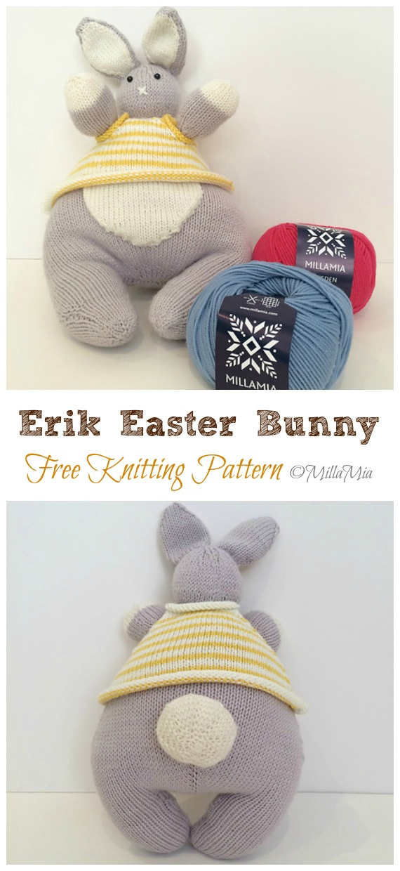 Amigurumi Erik Easter Bunny Knitting Free Pattern - Amigurumi Easter #Bunny; Toy Softies Free #Knitting; Patterns