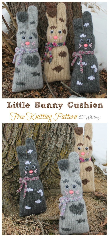 Amigurumi Little Bunny Cushion Knitting Free Pattern - Amigurumi Easter #Bunny; Toy Softies Free #Knitting; Patterns