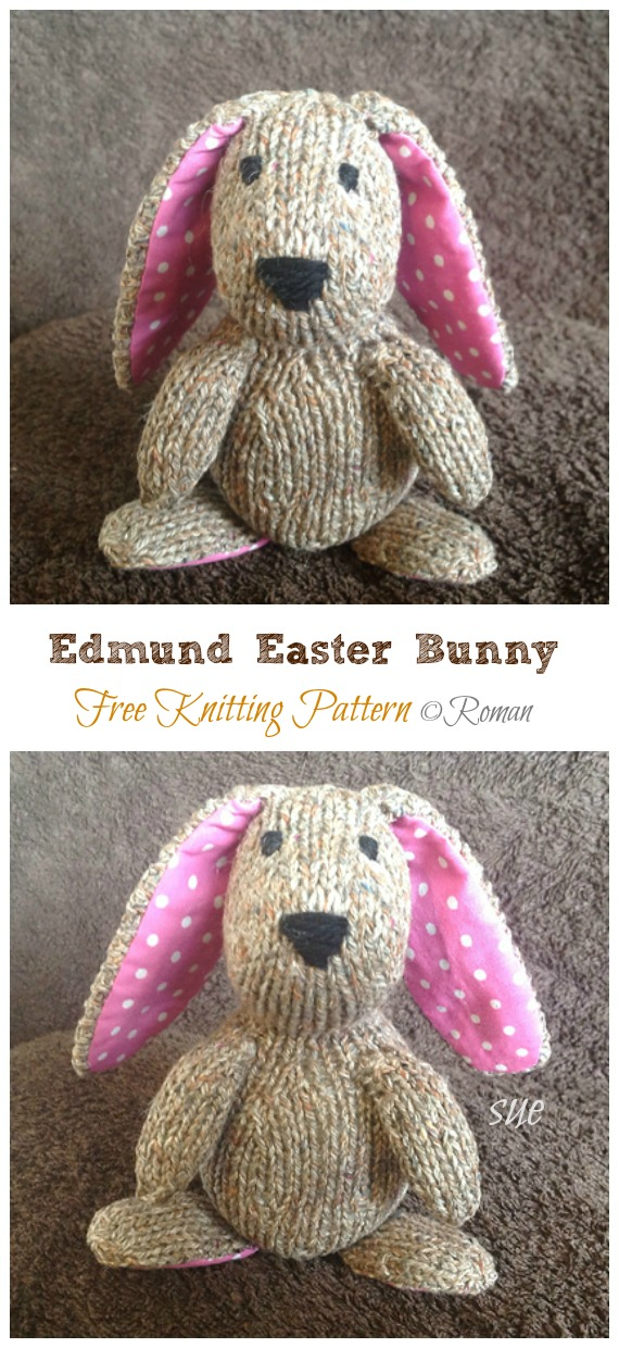 Amigurumi Edmund Easter Bunny Knitting Free Pattern - Amigurumi Easter #Bunny; Toy Softies Free #Knitting; Patterns