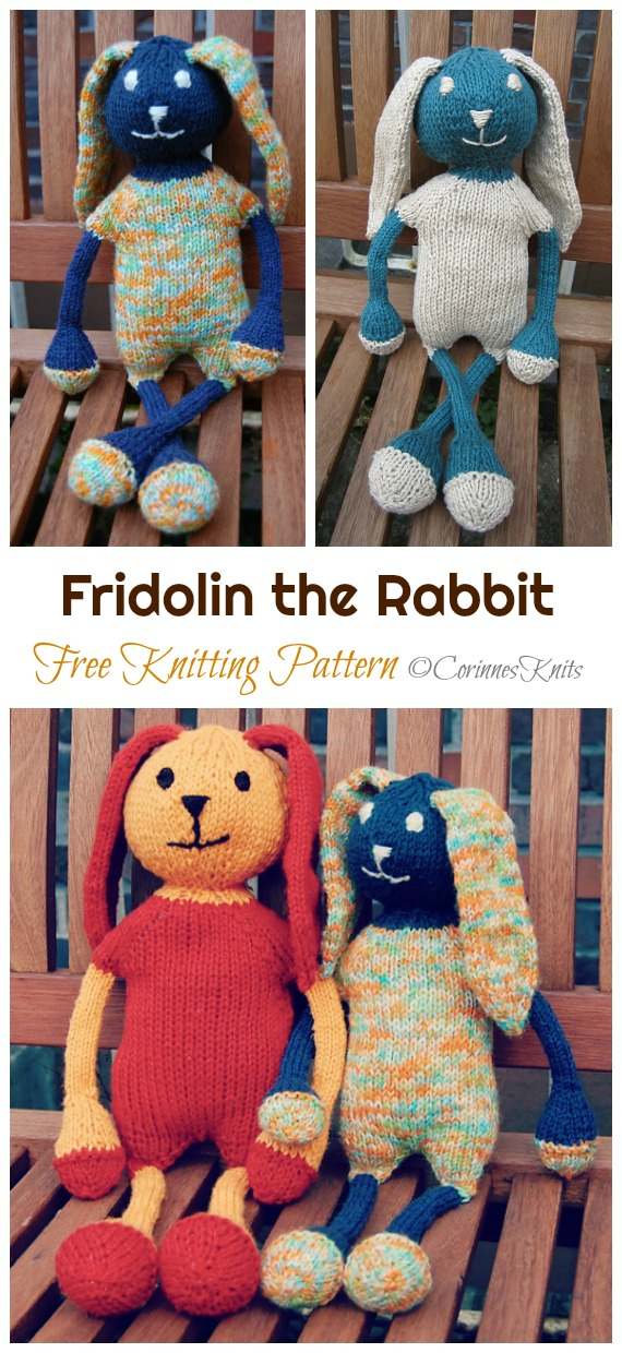 Amigurumi Fridolin the Rabbit Knitting Free Pattern - Amigurumi Easter #Bunny; Toy Softies Free #Knitting; Patterns