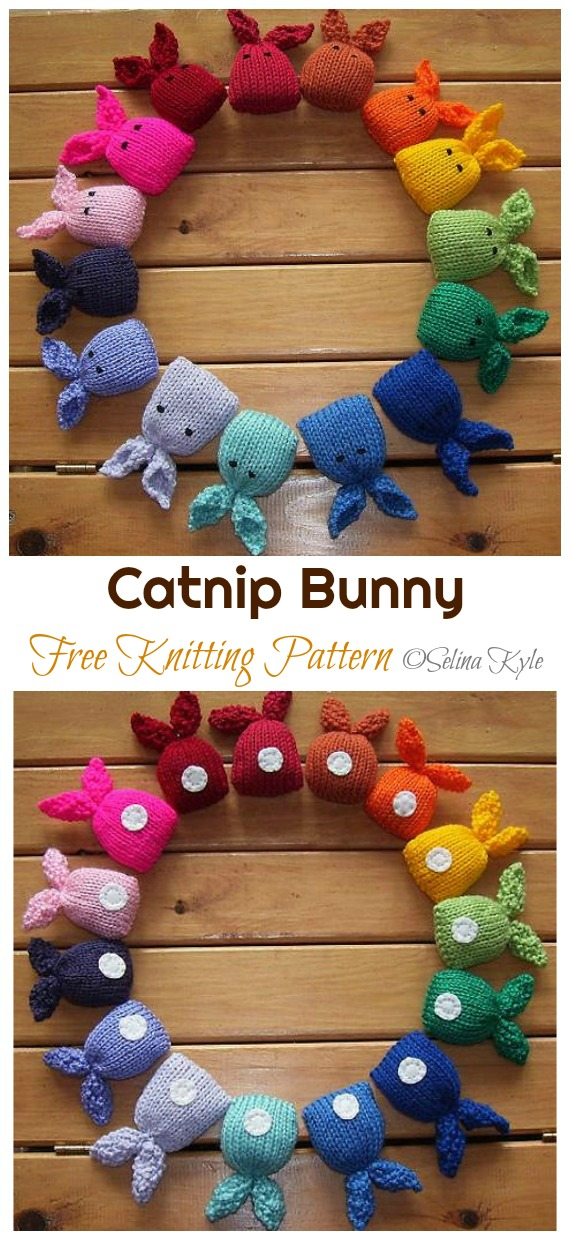 Amigurumi Catnip Bunny Knitting Free Pattern - Amigurumi Easter #Bunny; Toy Softies Free #Knitting; Patterns