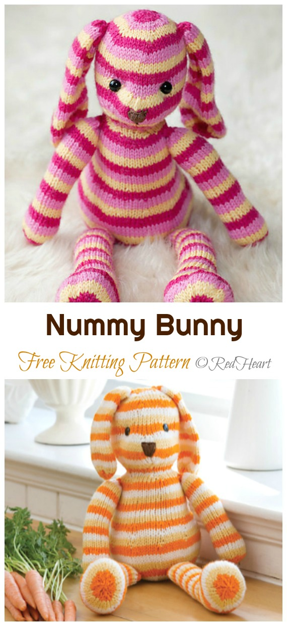 Amigurumi Nummy Bunny Knitting Free Pattern - Amigurumi Easter #Bunny; Toy Softies Free #Knitting; Patterns