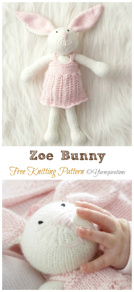 Amigurumi Zoe Bunny Knitting Free Pattern - Amigurumi Easter #Bunny; Toy Softies Free #Knitting; Patterns