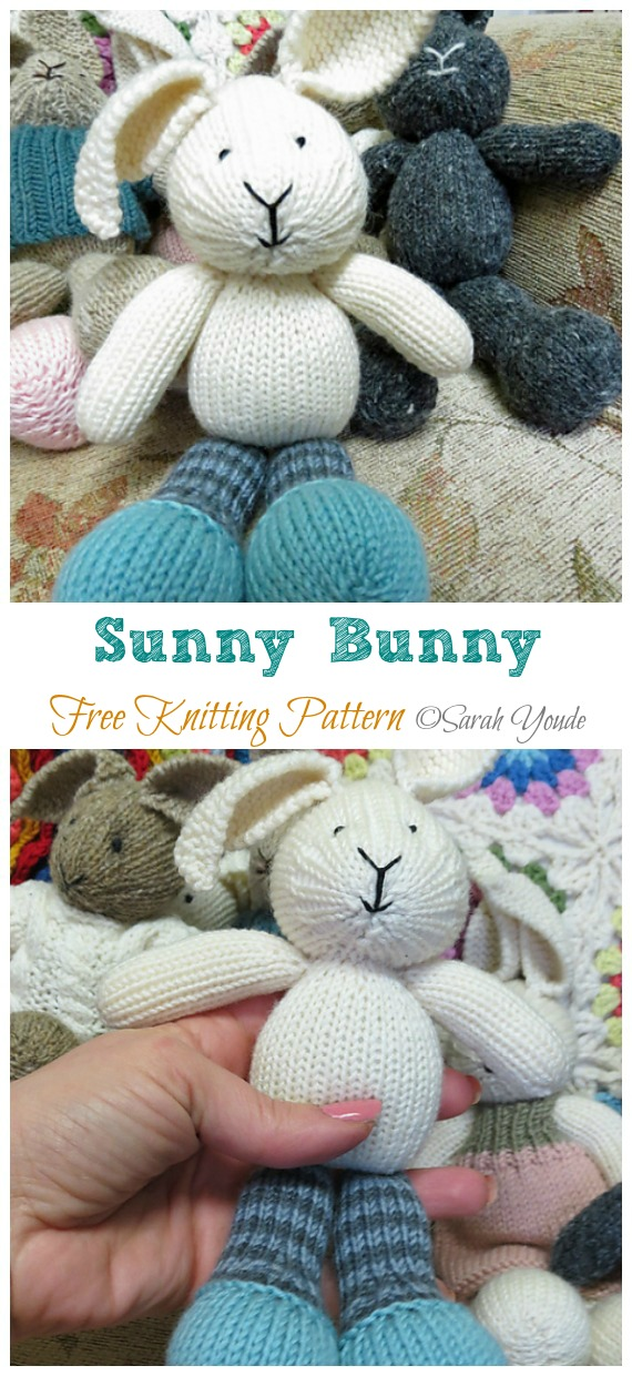 Amigurumi Sunny Bunny Knitting Free Pattern - Amigurumi Easter #Bunny; Toy Softies Free #Knitting; Patterns