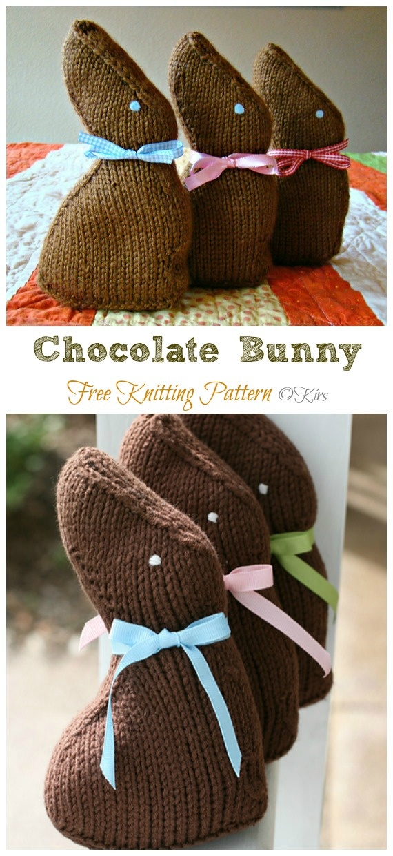 Amigurumi Chocolate Bunny Knitting Free Pattern - Amigurumi Easter #Bunny; Toy Softies Free #Knitting; Patterns