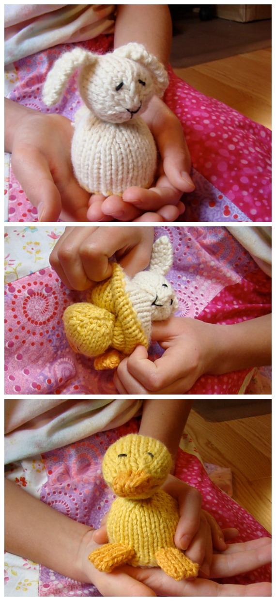 Mini Reversible Duck to Bunny Knitting Free Pattern - Amigurumi Easter #Bunny; Toy Softies Free #Knitting; Patterns