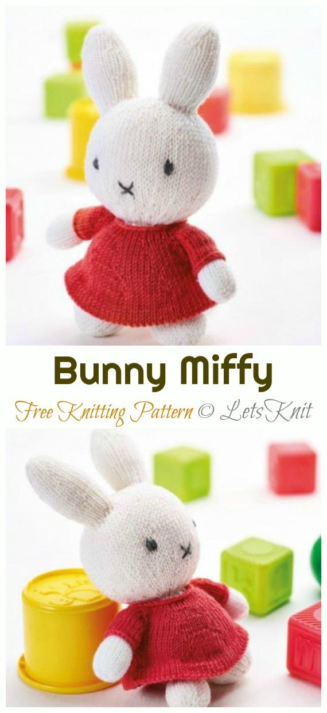 Amigurumi Bunny Miffy Knitting Free Pattern - Amigurumi Easter #Bunny; Toy Softies Free #Knitting; Patterns