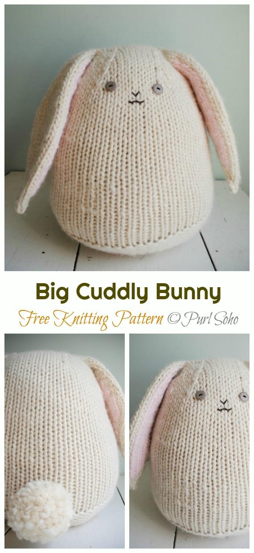 Amigurumi Big Cuddly Bunny Knitting Free Pattern - Amigurumi Easter #Bunny; Toy Softies Free #Knitting; Patterns