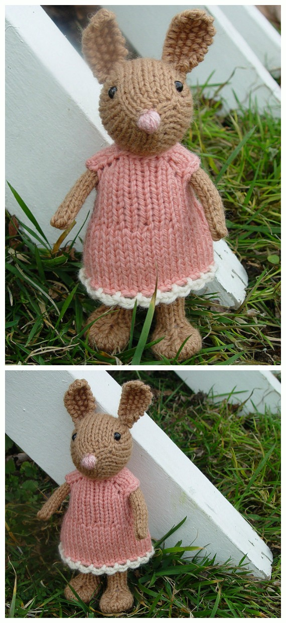 Easter Dress for Genevie Knitting Free Pattern - Amigurumi Easter #Bunny; Toy Softies Free #Knitting; Patterns
