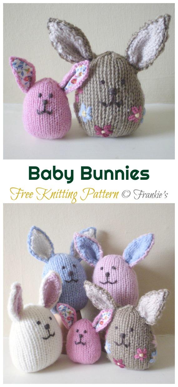 Amigurumi Baby Bunnies Knitting Free Pattern - Amigurumi Easter #Bunny; Toy Softies Free #Knitting; Patterns