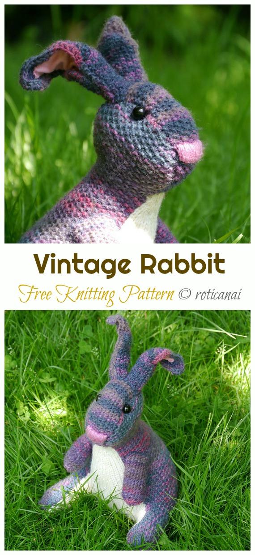 Amigurumi Vintage Rabbit Knitting Free Pattern - Amigurumi Easter #Bunny; Toy Softies Free #Knitting; Patterns