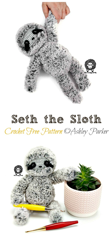 Amigurumi Seth the Sloth Crochet Free Pattern -Crochet #Sloth; #Amigurumi; Toy Softies Free Patterns