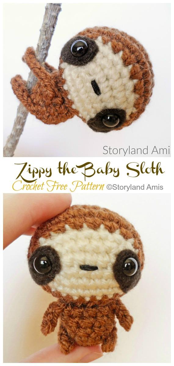 Free Crochet Sloth Amigurumi Pattern - thefriendlyredfox.com | 1200x570