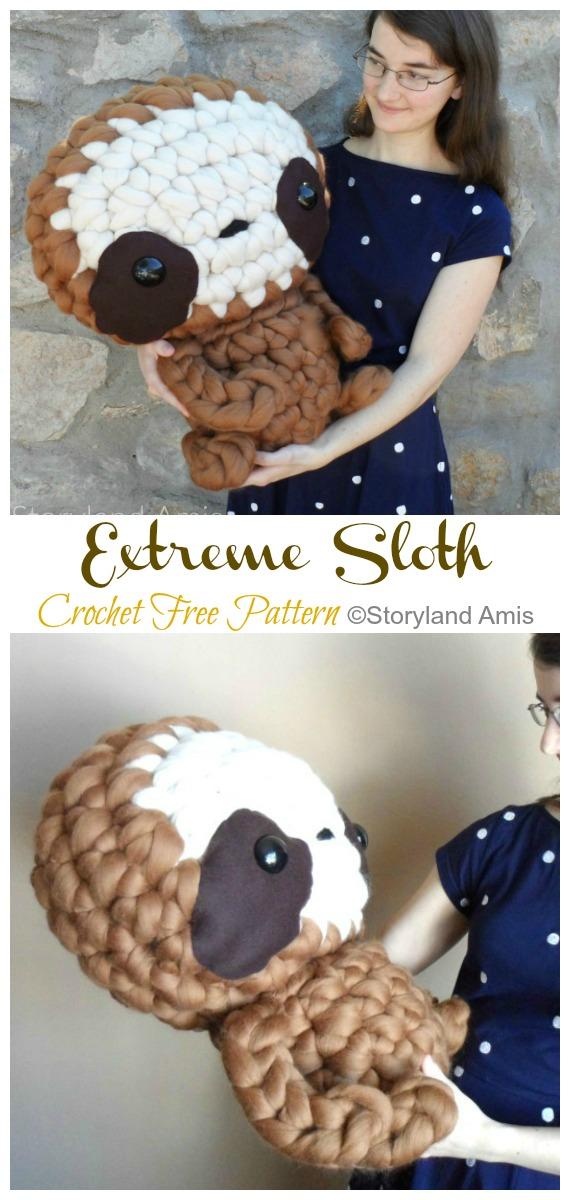 Amigurumi Extreme Sloth Crochet Free Pattern -Crochet #Sloth; #Amigurumi; Toy Softies Free Patterns