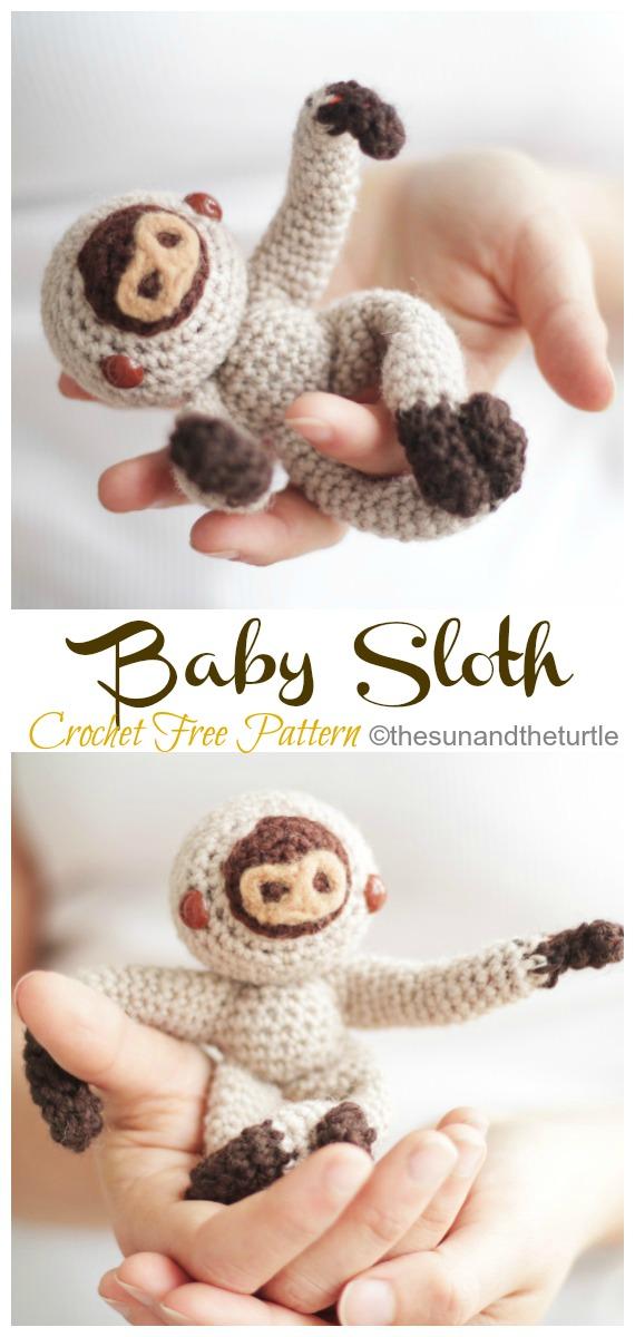 Amigurumi Finger Baby Sloth Crochet Free Pattern -Crochet #Sloth; #Amigurumi; Toy Softies Free Patterns