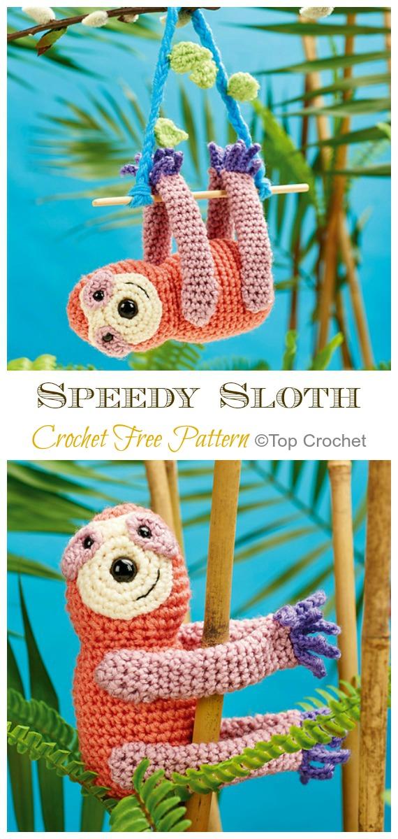Amigurumi Speedy Sloth Crochet Free Pattern -Crochet #Sloth; #Amigurumi; Toy Softies Free Patterns