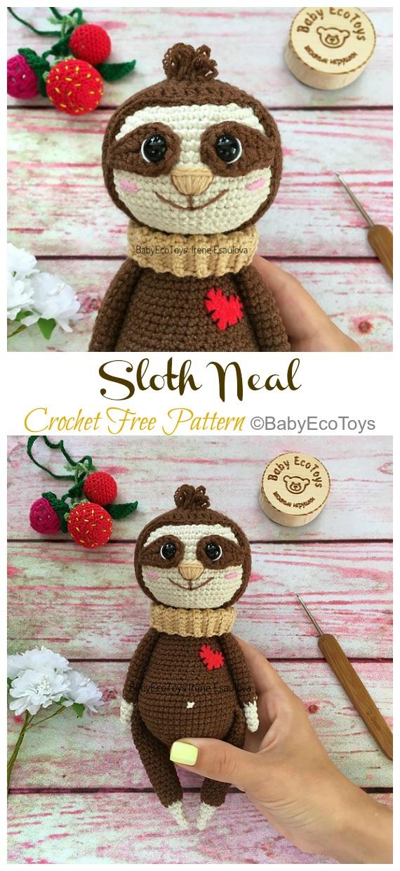 Amigurumi Sloth Neal Crochet Free Pattern -Crochet #Sloth; #Amigurumi; Toy Softies Free Patterns