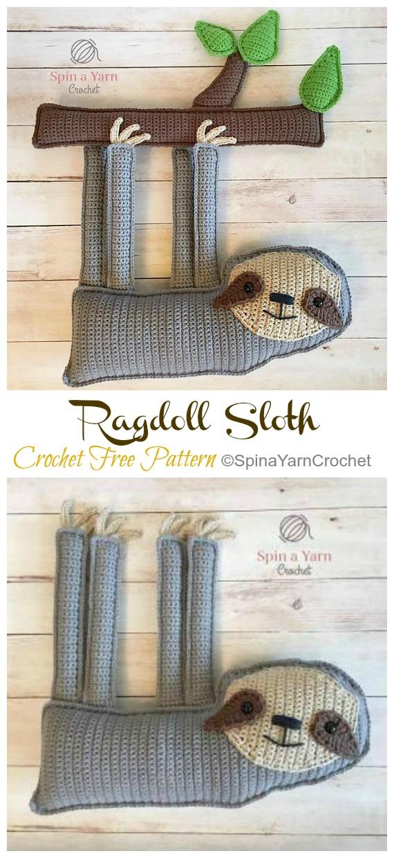 Amigurumi Ragdoll Sloth Crochet Free Pattern -Crochet #Sloth; #Amigurumi; Toy Softies Free Patterns