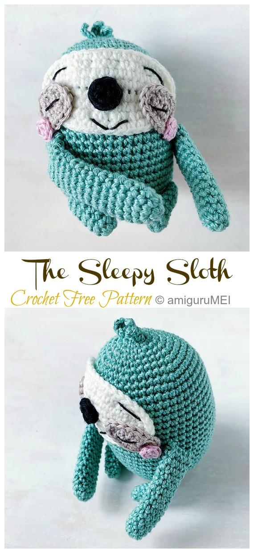 Amigurumi the SleepySloth Crochet Free Pattern -Crochet #Sloth; #Amigurumi; Toy Softies Free Patterns