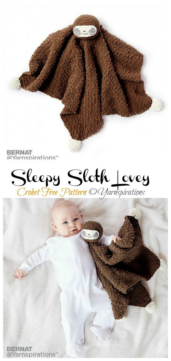 Amigurumi Sleepy Sloth Lovey Crochet Free Pattern -Crochet #Sloth; #Amigurumi; Toy Softies Free Patterns