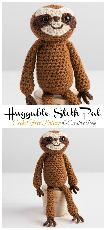 Amigurumi Huggable Sloth Pal Crochet Free Pattern -Crochet #Sloth; #Amigurumi; Toy Softies Free Patterns