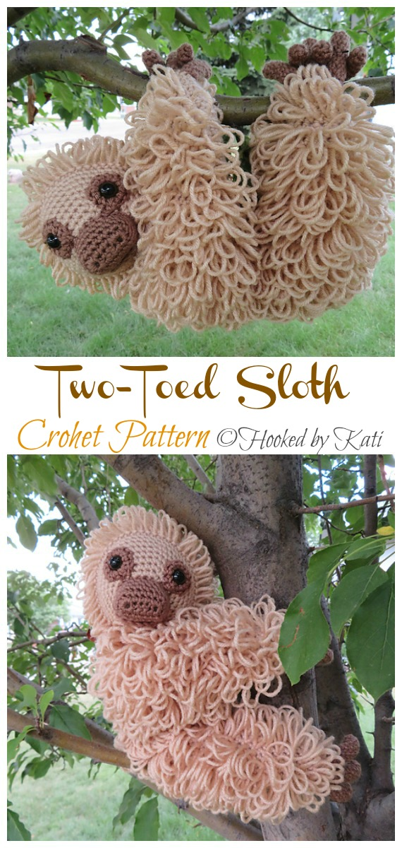 Amigurumi Two-Toed Sloth Crochet  Pattern - Crochet #Sloth; #Amigurumi; Toy Softies Patterns